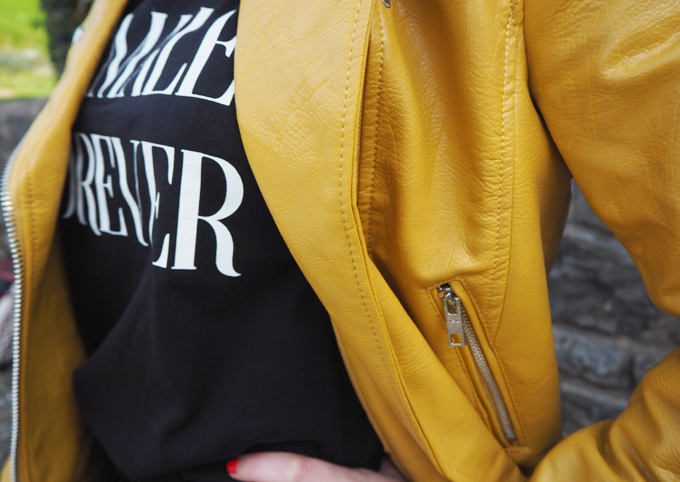How to add colour to your wardrobe this autumn close up Bershka jacket