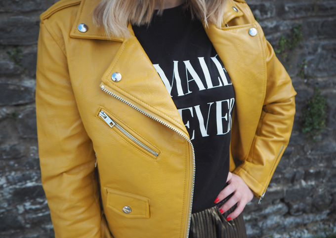 How to add colour to your wardrobe this autumn close up asos faux leather biker jacket bershka yellow