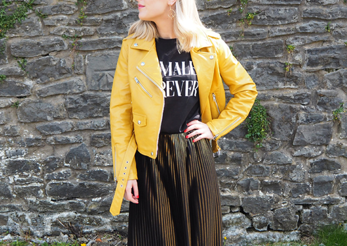 How to add colour to your wardrobe this autumn asos mustard biker jacket