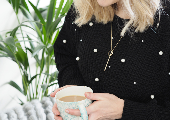 DIY Pearl Embellished Jumper - close up
