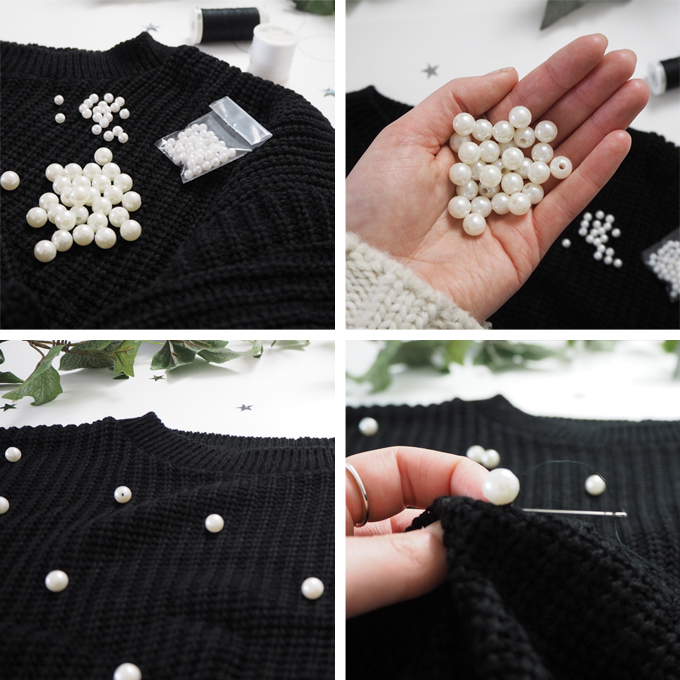 DIY Pearl Embellished Jumper - step by step