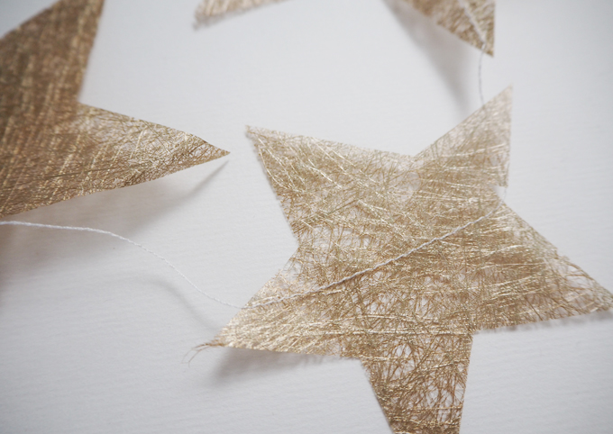 DIY Christmas Tissue Paper Star Garland - close up