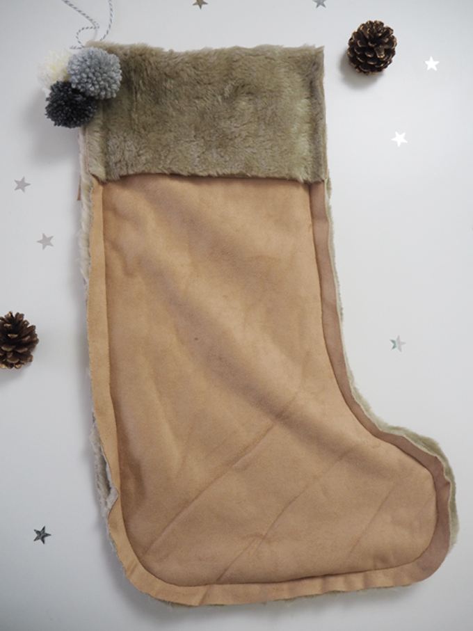 DIY Faux Fur Christmas Stocking - full length