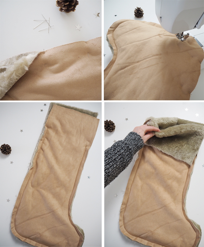DIY Faux Fur Christmas Stocking - step by step