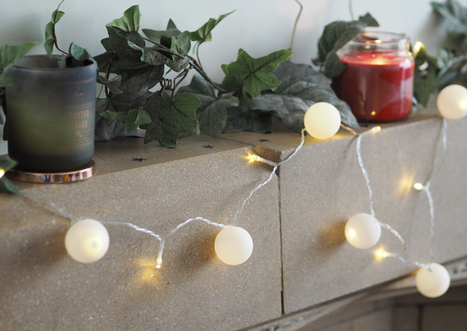 DIY Snowball Fairy Lights using ping pong balls - side view
