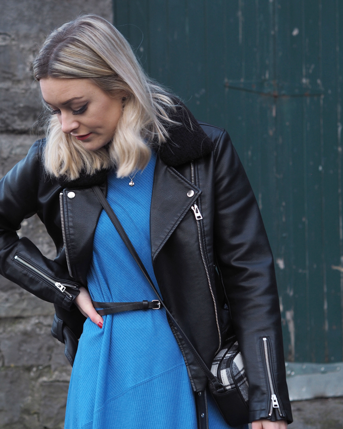 Ways to wear a midi dress in winter - Topshop biker jacket