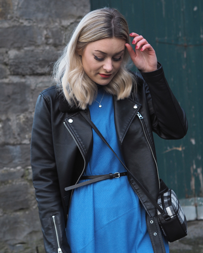 Ways to wear a midi dress in winter - topshop biker jacket and bag