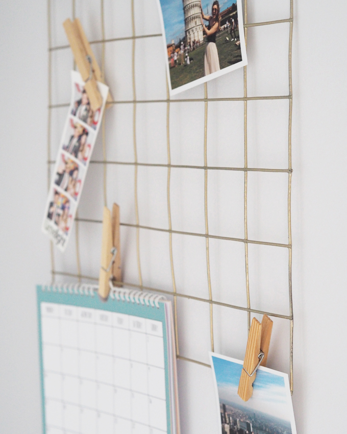 DIY Mini Gold Wire Memo Notice Board How To close up