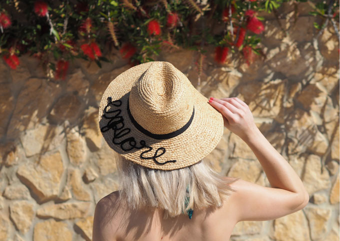 DIY embroidered beach hat how to tutorial back view