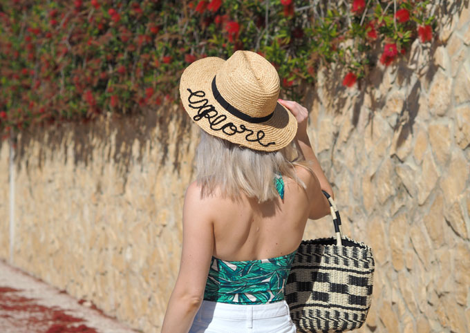 DIY embroidered beach hat how to tutorial finished product