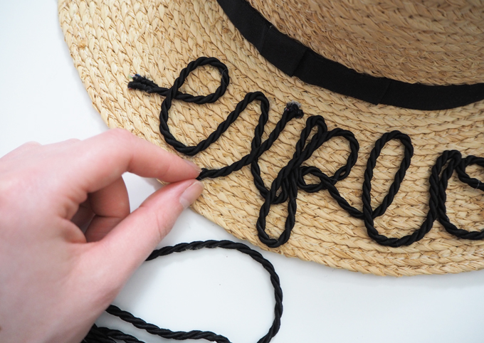 DIY embroidered beach hat how to tutorial glueing the thread