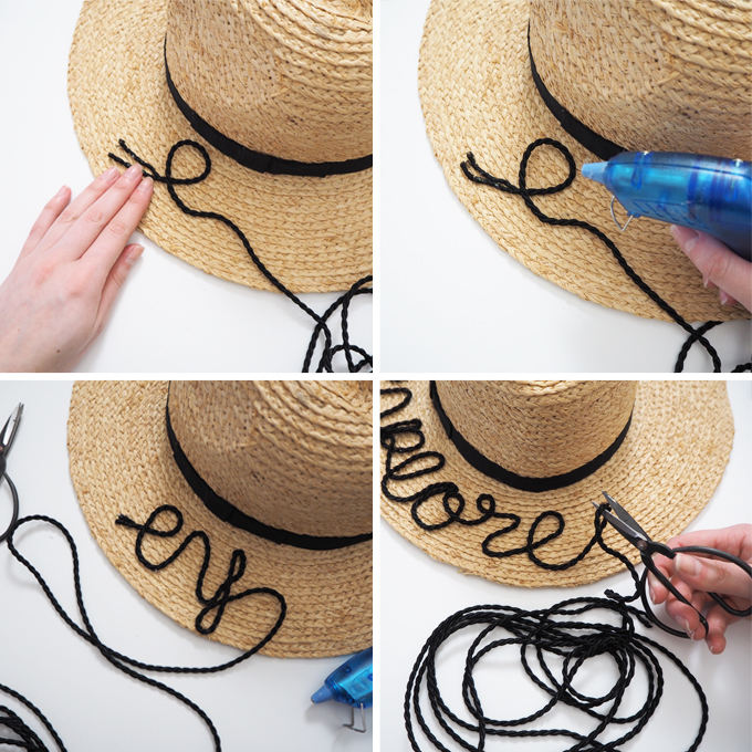 DIY embroidered beach hat how to tutorial step by step