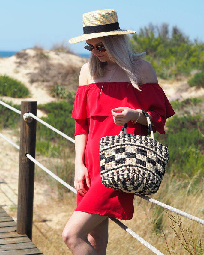 How to wear red for summer - Tobi Show Off Shoulder Dress in red close up