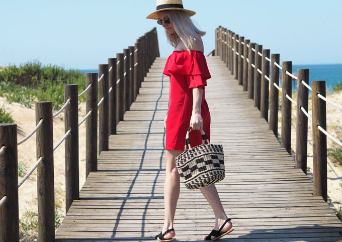 How to wear red for summer - Tobi Show Off Shoulder Dress in red side view