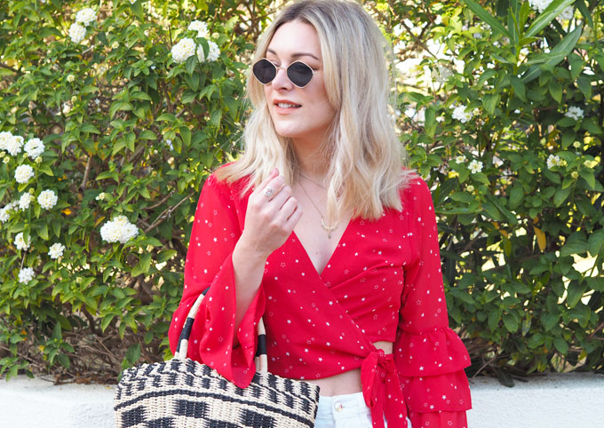 How to wear red for summer - Tobi Sugar Ruffle Sleeve Blouse wrap top close up