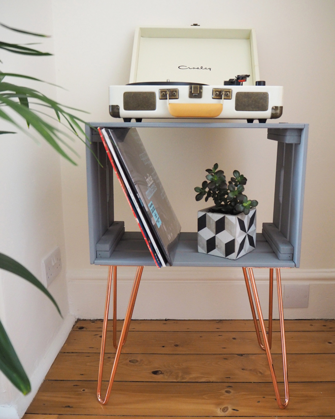 DIY Crate Side Table with The Hairpin Leg Co. - front view