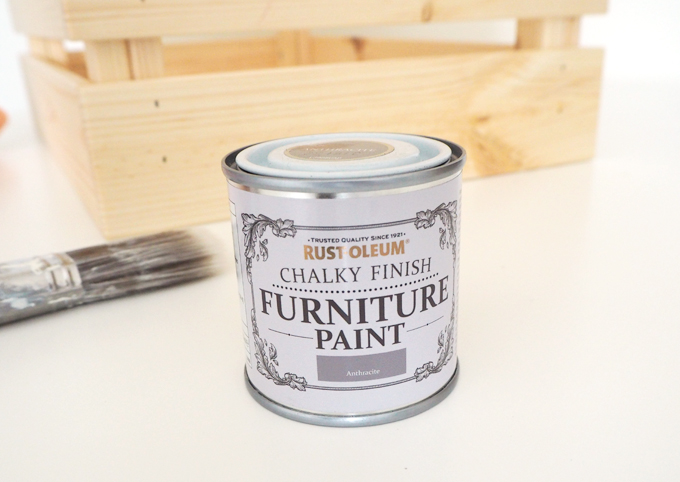 DIY Crate Side Table with The Hairpin Leg Co. - Rustoleum Chalky Paint