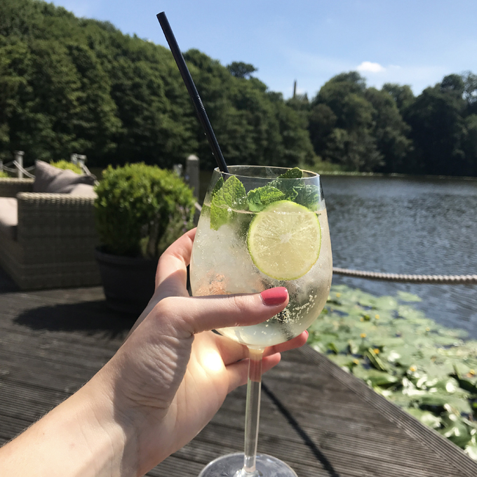 A couples weekend away at Wynyard Hall, Spa & Garden County Durham - cocktail by the lake side spa