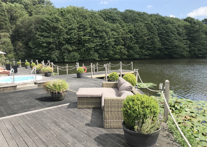 A couples weekend away at Wynyard Hall, Spa & Garden County Durham - view of lakeside spa