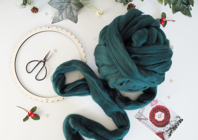 Crocheted Wreath Kit with Wool Couture materials used
