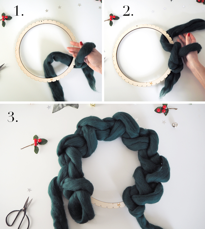 Crocheted Wreath Kit with Wool Couture step by step round 1