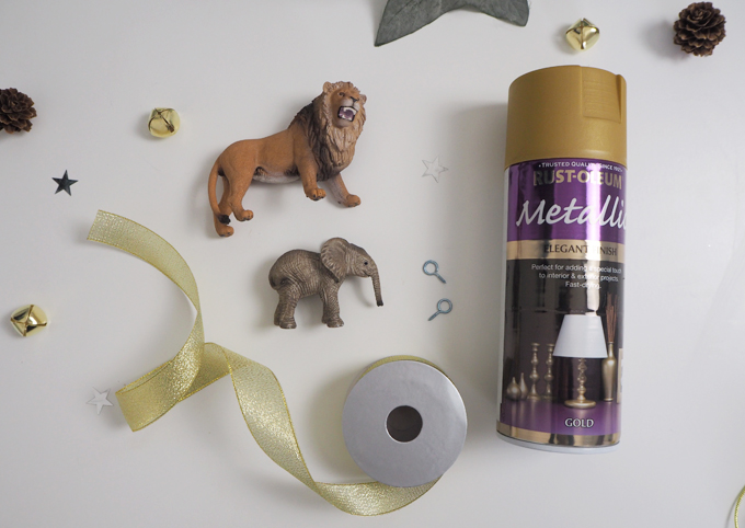 Materials used DIY Gold Animal Baubles | MadeUpStyle.com