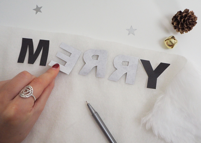 Reversing the letters | DIY Christmas Jumper | MadeUpStyle.com