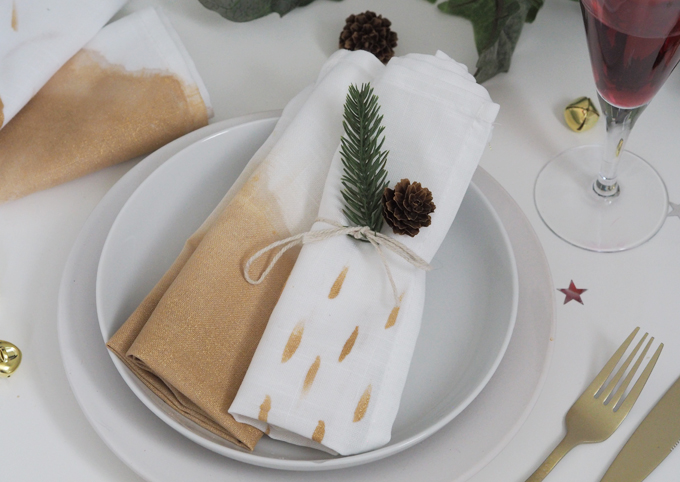DIY Painted Christmas Napkins